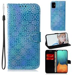 Laser Circle Shining Leather Wallet Phone Case for Samsung Galaxy A71 4G - Blue