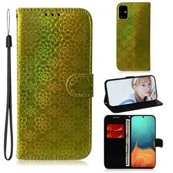 Laser Circle Shining Leather Wallet Phone Case for Samsung Galaxy A71 4G - Golden