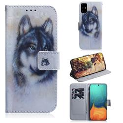 Snow Wolf PU Leather Wallet Case for Samsung Galaxy A71 4G