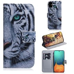 White Tiger PU Leather Wallet Case for Samsung Galaxy A71 4G