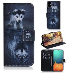 Wolf and Dog PU Leather Wallet Case for Samsung Galaxy A71 4G