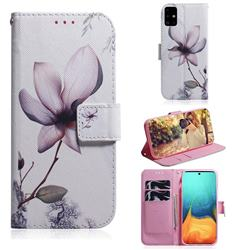 Magnolia Flower PU Leather Wallet Case for Samsung Galaxy A71 4G