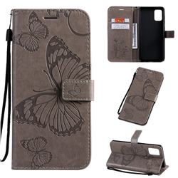 Embossing 3D Butterfly Leather Wallet Case for Samsung Galaxy A71 4G - Gray