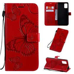 Embossing 3D Butterfly Leather Wallet Case for Samsung Galaxy A71 4G - Red