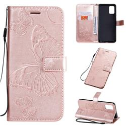 Embossing 3D Butterfly Leather Wallet Case for Samsung Galaxy A71 4G - Rose Gold