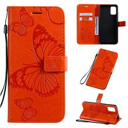 Embossing 3D Butterfly Leather Wallet Case for Samsung Galaxy A71 4G - Orange