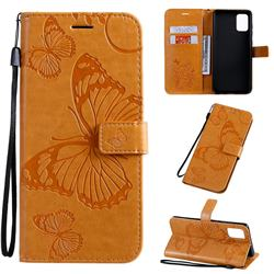 Embossing 3D Butterfly Leather Wallet Case for Samsung Galaxy A71 4G - Yellow