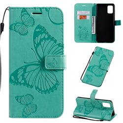 Embossing 3D Butterfly Leather Wallet Case for Samsung Galaxy A71 4G - Green