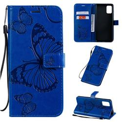 Embossing 3D Butterfly Leather Wallet Case for Samsung Galaxy A71 4G - Blue