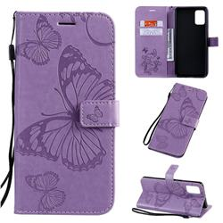 Embossing 3D Butterfly Leather Wallet Case for Samsung Galaxy A71 4G - Purple