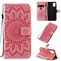 Embossing Sunflower Leather Wallet Case for Samsung Galaxy A71 4G - Pink