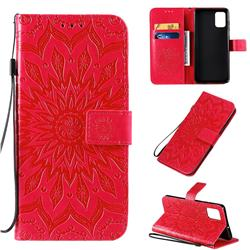 Embossing Sunflower Leather Wallet Case for Samsung Galaxy A71 4G - Red