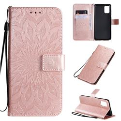 Embossing Sunflower Leather Wallet Case for Samsung Galaxy A71 4G - Rose Gold