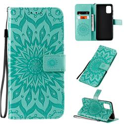 Embossing Sunflower Leather Wallet Case for Samsung Galaxy A71 4G - Green