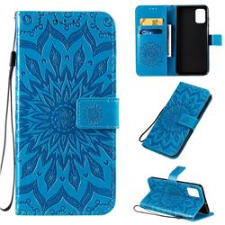 Embossing Sunflower Leather Wallet Case for Samsung Galaxy A71 4G - Blue