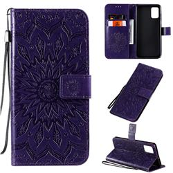 Embossing Sunflower Leather Wallet Case for Samsung Galaxy A71 4G - Purple