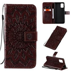 Embossing Sunflower Leather Wallet Case for Samsung Galaxy A71 4G - Brown