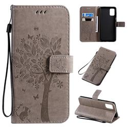 Embossing Butterfly Tree Leather Wallet Case for Samsung Galaxy A71 4G - Grey