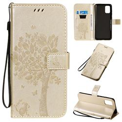Embossing Butterfly Tree Leather Wallet Case for Samsung Galaxy A71 4G - Champagne
