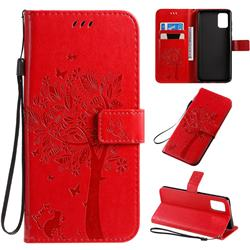 Embossing Butterfly Tree Leather Wallet Case for Samsung Galaxy A71 4G - Red