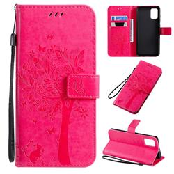 Embossing Butterfly Tree Leather Wallet Case for Samsung Galaxy A71 4G - Rose