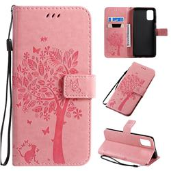 Embossing Butterfly Tree Leather Wallet Case for Samsung Galaxy A71 4G - Pink