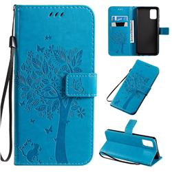 Embossing Butterfly Tree Leather Wallet Case for Samsung Galaxy A71 4G - Blue