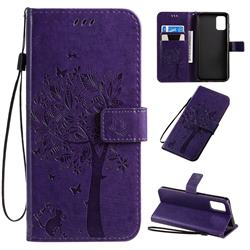 Embossing Butterfly Tree Leather Wallet Case for Samsung Galaxy A71 4G - Purple