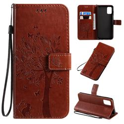 Embossing Butterfly Tree Leather Wallet Case for Samsung Galaxy A71 4G - Coffee