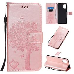 Embossing Butterfly Tree Leather Wallet Case for Samsung Galaxy A71 4G - Rose Pink