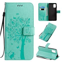 Embossing Butterfly Tree Leather Wallet Case for Samsung Galaxy A71 4G - Cyan