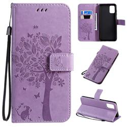 Embossing Butterfly Tree Leather Wallet Case for Samsung Galaxy A71 4G - Violet