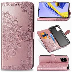 Embossing Imprint Mandala Flower Leather Wallet Case for Samsung Galaxy A71 4G - Rose Gold