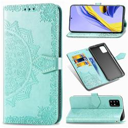 Embossing Imprint Mandala Flower Leather Wallet Case for Samsung Galaxy A71 4G - Green