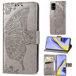 Embossing Mandala Flower Butterfly Leather Wallet Case for Samsung Galaxy A71 4G - Gray