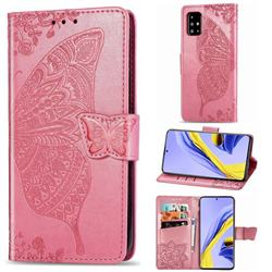 Embossing Mandala Flower Butterfly Leather Wallet Case for Samsung Galaxy A71 4G - Pink