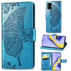 Embossing Mandala Flower Butterfly Leather Wallet Case for Samsung Galaxy A71 4G - Blue