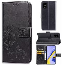 Embossing Imprint Four-Leaf Clover Leather Wallet Case for Samsung Galaxy A71 4G - Black