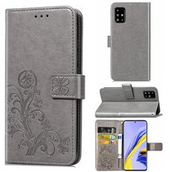 Embossing Imprint Four-Leaf Clover Leather Wallet Case for Samsung Galaxy A71 4G - Grey