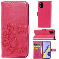 Embossing Imprint Four-Leaf Clover Leather Wallet Case for Samsung Galaxy A71 4G - Rose