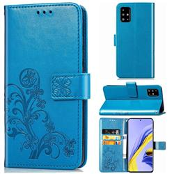 Embossing Imprint Four-Leaf Clover Leather Wallet Case for Samsung Galaxy A71 4G - Blue