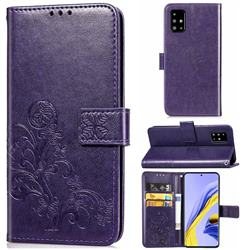 Embossing Imprint Four-Leaf Clover Leather Wallet Case for Samsung Galaxy A71 4G - Purple