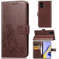 Embossing Imprint Four-Leaf Clover Leather Wallet Case for Samsung Galaxy A71 4G - Brown
