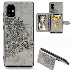 Mandala Flower Cloth Multifunction Stand Card Leather Phone Case for Samsung Galaxy A71 - Gray