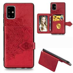 Mandala Flower Cloth Multifunction Stand Card Leather Phone Case for Samsung Galaxy A71 - Red