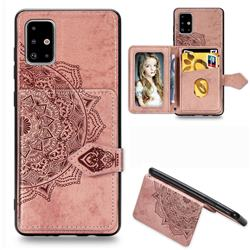Mandala Flower Cloth Multifunction Stand Card Leather Phone Case for Samsung Galaxy A71 - Rose Gold