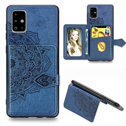 Mandala Flower Cloth Multifunction Stand Card Leather Phone Case for Samsung Galaxy A71 - Blue