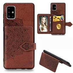 Mandala Flower Cloth Multifunction Stand Card Leather Phone Case for Samsung Galaxy A71 - Brown