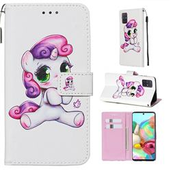 Playful Pony Matte Leather Wallet Phone Case for Samsung Galaxy A71 4G