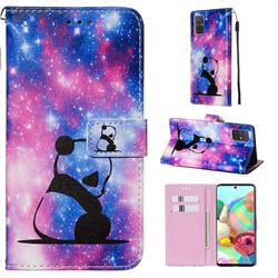 Panda Baby Matte Leather Wallet Phone Case for Samsung Galaxy A71 4G